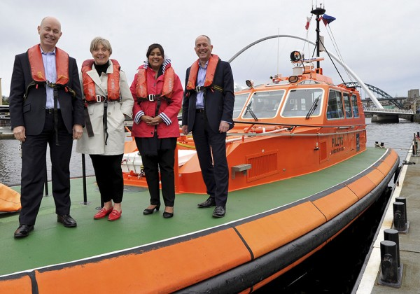 L to R Andrew Moffat CEO Port of Tyne, Alison Thain - Non-executive Director Port of Tyne, Nusrat Ghani Shipping Minister DfT, Steven Harrison COO Port of Tyne