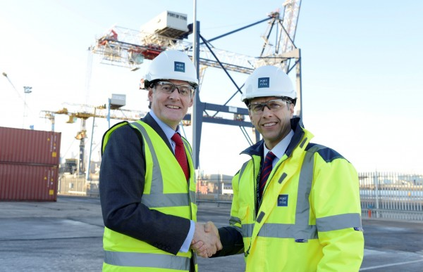 Matt Beeton Port of Tyne CEO with The £2 million extension was officially opened by The Hon. James Ramsbotham CBE Chief Exec of NEECC