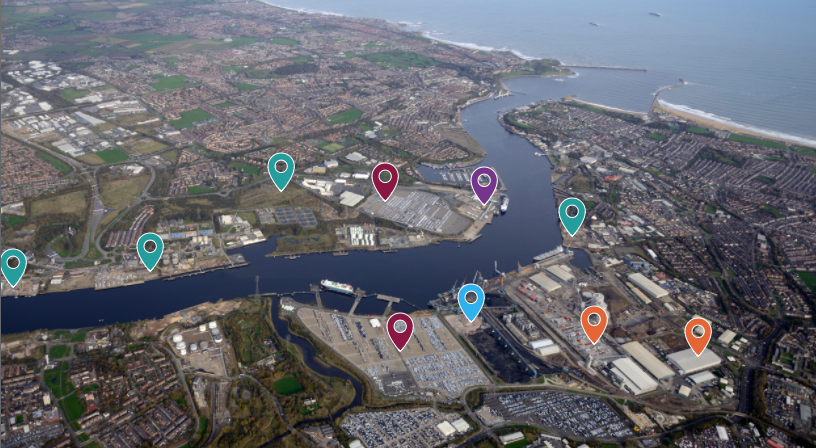 Port of Tyne with relevant map markers highlighting places of interest
